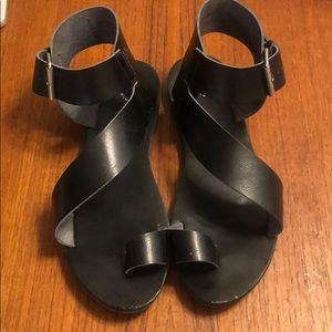 Leather Inspired Black Strappy Sandals